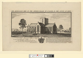 The south east view of the church and palace of St. Asaph, in the county of Flint