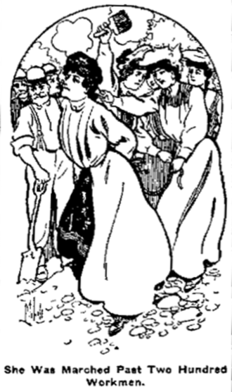 "Tarring and feathering - Image accompanying story of ""Female Whitecaps Chastise Woman"" from Ada Evening News November 27, 1906. The article describes an incident in East Sandy, Pennsylvania where four married women tarred and feathered Mrs. Hattie Lowry."