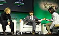 Theranos Chairman, CEO and Founder Elizabeth Holmes (L) and TechCrunch Writer and Moderator Jonathan Shieber speak onstage at TechCrunch Disrupt at Pier 48 on September 8, 2014 (14995779320).jpg