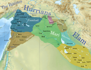 Shamshi-Adad I - A map of the Ancient Near East showing the geopolitical situation around the Old Assyrian Empire (light brown) near contemporary great powers such as: Eshnunna (light blue), Yamhad (dark blue), Qatna (dark brown), the First Dynasty of Babylon (yellow), and the Third Mariote Kingdom (shortly before the conquest of the long-abandoned town of Šubat-Enlil c. 1808 BC by the Amorite conqueror Šamši-Adad I.)