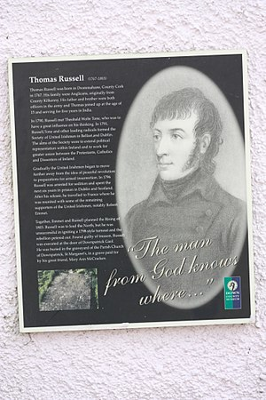 Thomas Russell (rebel) - Information at Down County Museum, Downpatrick, County Down, August 2009