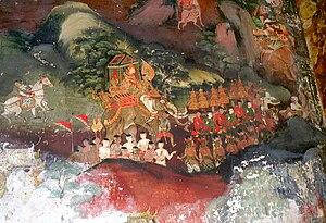 Vessantara Jataka - Vessantara Jataka mural, 19th century, Wat Suwannaram, Thonburi district, Bangkok, Thailand