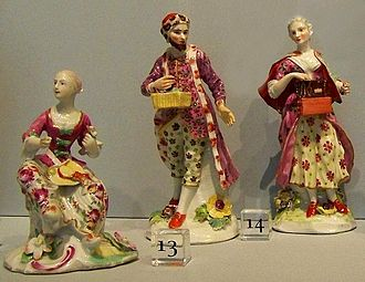 Royal Crown Derby - Three figures dated 1758 - now in Detroit Institute of Arts