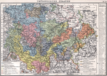 This German map shows the various states of Thuringia within the German Empire in 1905.