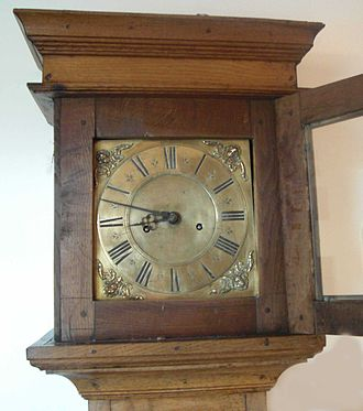 Grandfather clock - Clock face circa 1730 Timothy Mason (clockmaker) of Gainsborough