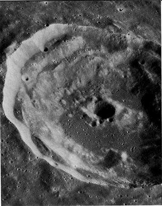 Timocharis (crater) - Oblique view from Apollo 17 panoramic camera.  Note that the central peak has been modified by a superposed crater.