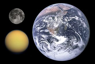 Titan (moon) - Size comparison: Titan (lower left) with the Moon and Earth (top and right)