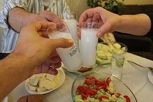 Alcohol laws of Turkey - Toasting with rakı, in the typical rakı glasses.