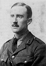 Tolkien in 1916, wearing his British Army uniform in a photograph from the middle years of WW1 (from Carpenter's Biography)