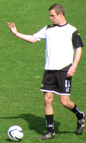Tom Pope - Pope pictured warming up for his hometown club (April 2013).