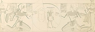 Ramesses X - Rsmesses X (left and right) from KV18 in a reconstruction by Karl Richard Lepsius