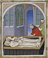 Tomb of Cleopatra and Mark Antony, illuminated manuscript of Boccaccio, miniature by the Boucicaut master, 1409 AD (cropped).jpg