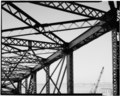 Top chord and lateral bracing, swing span (Span G); looking W. (Ceronie) - Rock Island Arsenal, Rock Island Bridge, Fort Armstrong Avenue, Rock Island, Rock Island County, IL HAER ILL,81-ROCIL,3A-23.tif