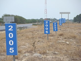 Nutation - Yearly changes in the location of the Tropic of Cancer near a highway in Mexico