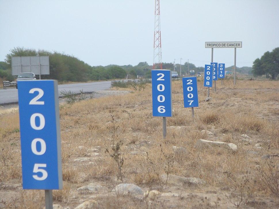 Trópico de Cáncer en México - Carretera 83 (Vía Corta) Zaragoza-Victoria, Km 27+800