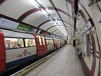 A train stopped at Hampstead tube station