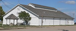 Trego County fairgrounds exhibit bldg from SW 1.JPG