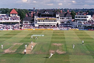 Dominic Cork - Shaun Pollock has just clipped Cork through mid-wicket during the 1st Test between England and South Africa in 1998 at Trent Bridge