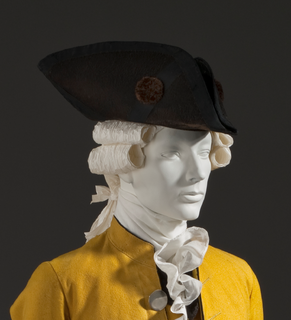 Tricorne hat with the brim cocked or turned up on three sides