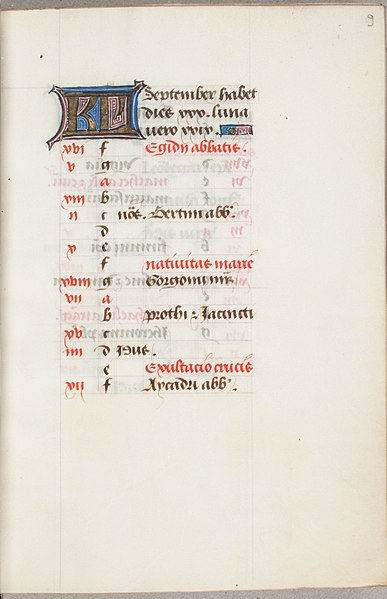 Bestand:Trivulzio book of hours - KW SMC 1 - Calendar for the month of September - recto.jpg