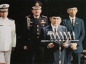 Try Sutrisno - Try Sutrisno takes the oath of office on 11 March 1993 at a session of the People's Consultative Assembly.