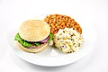 Turkey burger with baked beans and potato salad.jpg
