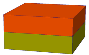 Corner-point grid - A trivial example of a Corner-point grid with only two cells.