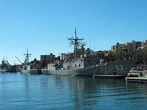 Adelaide-class frigate - Sydney (foreground) and Darwin alongside at Fleet Base East in 2011