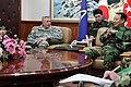 U.S. Army Lt. Gen. John Johnson, left, the commanding general of the Eighth U.S. Army, visits with South Korean army Gen. Lee Chul-hyee, right, the commanding general of the 2nd Operational Command (2OC), at 110309-A-AP548-008.jpg