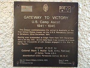 Eagle Farm Racecourse - U.S. Camp Ascot Plaque at Eagle Farm Racecource