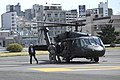 U.S. Defense Secretary Chuck Hagel waves to the pilots of a UH-60 Blackhawk helicopter after landing at Hardy Barracks in Tokyo, April 5, 2014 140405-D-BW835-161.jpg