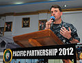 U.S. Navy Capt. James Morgan, the Pacific Partnership 2012 mission commander, addresses participants in a subject matter expert exchange about disaster relief management June 6, 2012, in Manado, Indonesia 120606-N-GI544-069.jpg