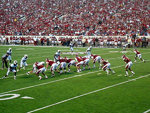 2012 Arkansas Razorbacks football team - The 2012 Razorbacks football team snaps the ball in War Memorial Stadium