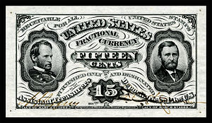 Fractional currency (United States) - Sherman-Grant 15-cent 3rd issue exists only as an unissued specimen.