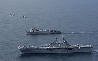 Amphibious transport dock - Image: USS America (LHA 6) and Sargento Aldea (LSDH 91) underway off Chile in August 2014