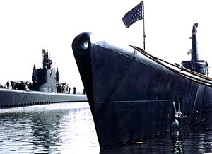 USS Dace (SS-247), on the left