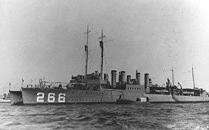 USS Greene (DD-266) at anchor, in 1919-1922 (NH 70868)
