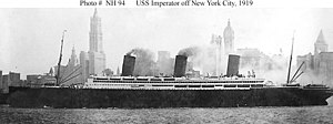 SS Imperator - USS Imperator (ID-4080) off Manhattan, New York City.