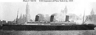 SS Imperator - USS Imperator (ID-4080) off Manhattan, New York City.