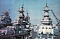 USS Iowa (BB-61), USS Wisconsin (BB-64) and USS Shangri-La (CVS-38) mothballed 1978.jpg