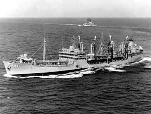 USS Mattaponi (AO-41) underway in the Gulf of Tonkin in December 1968