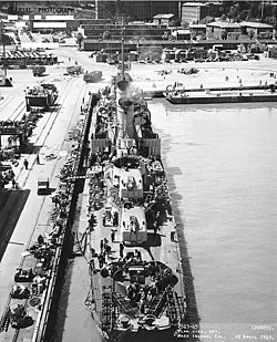 USS Wadleigh (DD-689) at the Mare Island Naval Shipyard, California (USA), on 10 April 1945 (NH 98906).jpg