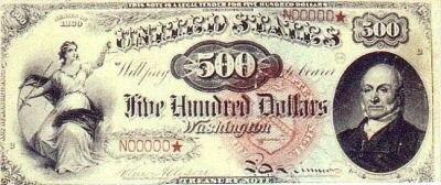 US $500 1869 Legal Tender Note