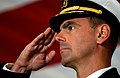 US Navy 031210-N-6213R-574 Capt. David H. Buss salutes during the national anthem at a Change of Command ceremony aboard USS John C. Stennis (CVN 74).jpg