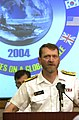 US Navy 040629-N-6811L-035 Commander, Canadian Fleet Pacific, Commodore Roger Girouard, responds to media queries.jpg