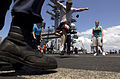 US Navy 070409-N-7130B-079 During a steel beach picnic on the flight deck of USS Ronald Reagan (CVN 76), Sailors relax by kicking around a hacky-sack.jpg