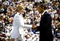 US Navy 090522-N-5549O-375 U.S. President Barack Obama congratulates Navy ensign Katherine Besser during the U.S. Naval Academy Class of 2009 graduation and commissioning ceremony.jpg