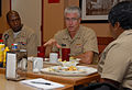 US Navy 100930-N-6764G-046 Vice Adm. Daniel P. Holloway, commander of U.S. 2nd Fleet, middle, discusses leadership responsibilities with Chief Elec.jpg