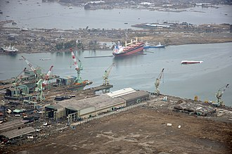 Ishinomaki - Ishinomaki port on 20 March 2011 showing heavy damage to ships and port facilities caused by the 11 March 2011 tsunami