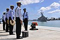 US Navy 110905-N-IZ292-112 Members of the Mauritian Police Force Band prepare to perform as the guided-missile frigate USS Samuel B. Roberts (FFG 5.jpg